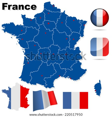 France set. Detailed country shape with region borders, flags and icons isolated on white background. - stock photo
