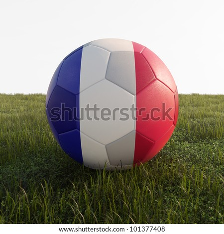 france soccer ball isolated on grass - stock photo