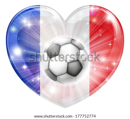 France soccer football ball flag love heart concept with the French flag in a heart shape and a soccer ball flying out  - stock photo