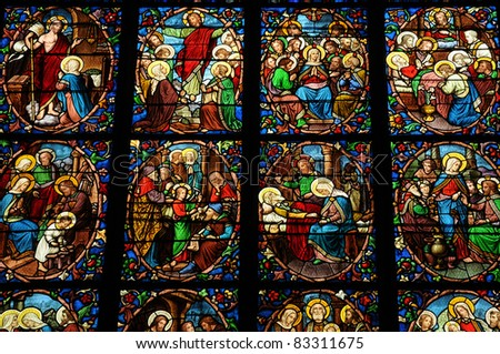 France, stained glass window in the cathedral of Pontoise