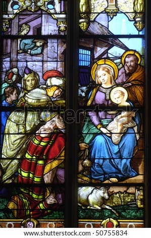 France, stained glass window in the church Saint Martin of Triel