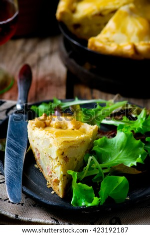 France tart with potato and bacon. style rustic .selective focus.