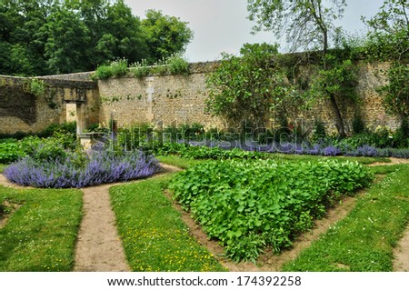France, the canon castle garden in Normandie