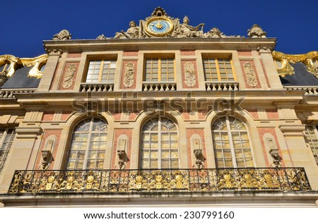 France, the marble courtyard of Versailles Palace in Ile de France - stock photo