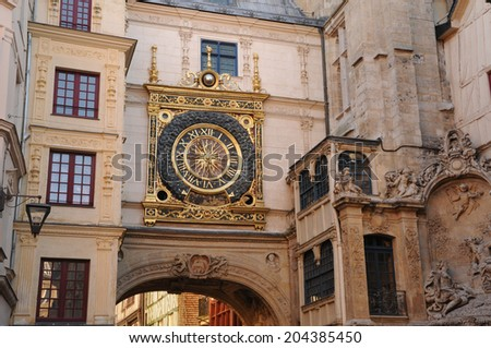 France, the picturesque Gros Horloge of Rouen   - stock photo