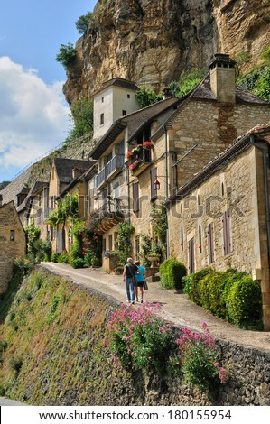 France, the picturesque village of Beynac in Dordogne - stock photo