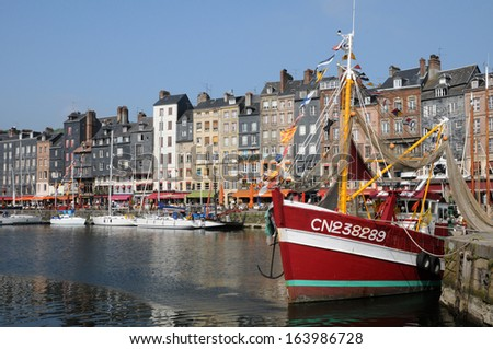 France, the port of Honfleur in Normandie - stock photo