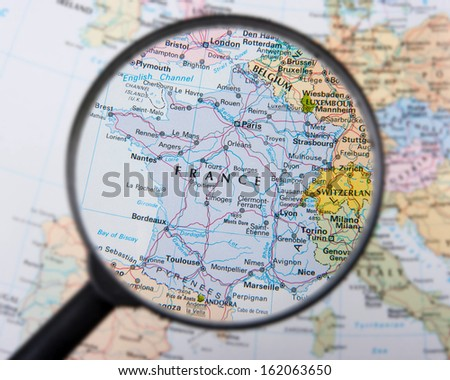 France under magnifier - stock photo
