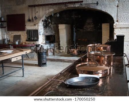 FRANCE, Valencay, SEPTEMBER 18 2013, Kitchen in Palace in Valancay - stock photo