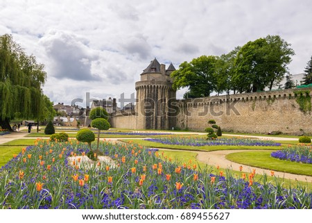 France, Vannes - April 28, 2017:Walking on the narrow streets of Vannes in a gloomy day,  viewing Ramparts Garden, Gaillard Castle, S Commune Morbihan, Brittany, Northwestern France