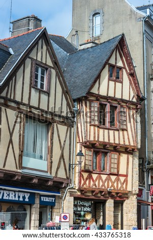 FRANCE, VANNES - SEPTEMBER 22: street with colorful houses in a medieval city of Vannes Brittany on September 22, 2015
