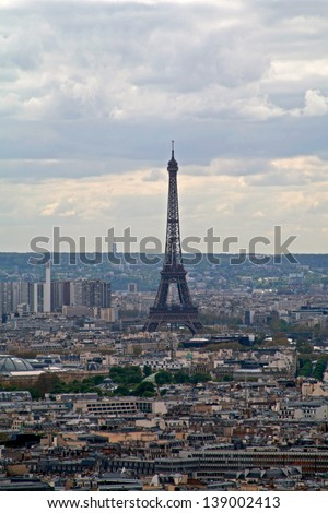 France. View of the most beautiful city of Paris from an observation deck of the hill Montmartre.