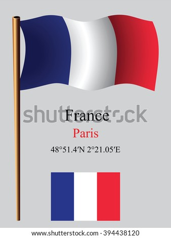 france wavy flag and coordinates against gray background, art illustration, image contains transparency