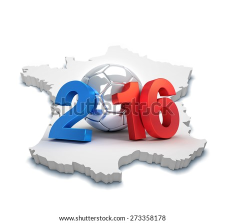 France 2016, year illustrated with a silver soccer ball, on a french map isolated on white - stock photo