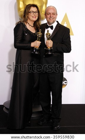 Frances Hannon and Mark Coulier at the 87th Annual Academy Awards - Press Room held at the Loews Hollywood Hotel in Los Angeles, USA on February 22, 2015. - stock photo