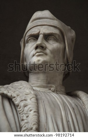 Francesco Guicciardini. Statue outside the Uffizi, Florence, Italy. - stock photo