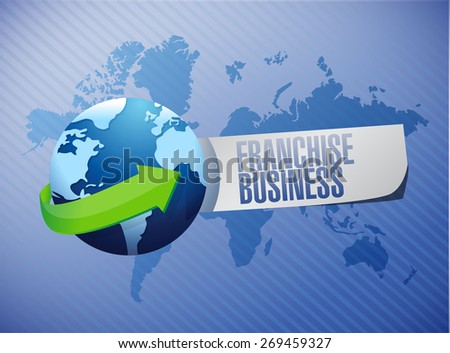 franchise business globe sign illustration design over blue