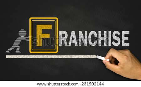 franchise concept on blackboard - stock photo