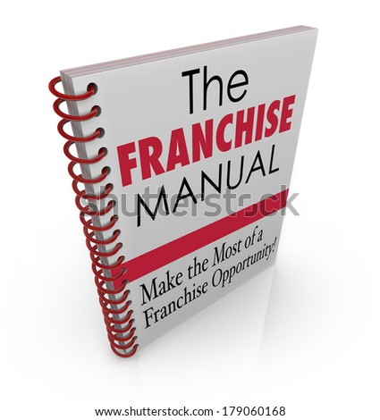 Franchise Manual Book Instructions Advice Tips License Business - stock photo