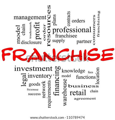 Franchise Word Cloud Concept in Red and Black letters with great terms such as fees, model, network, professional, partner, chain, management and more - stock photo