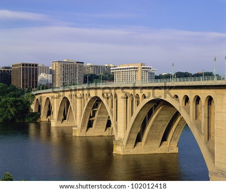 Francis Scott Key Bridge in daylight - stock photo