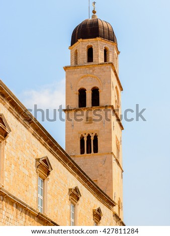 Franciscan monastery bell tower in Dubrovnik, Croatia - stock photo