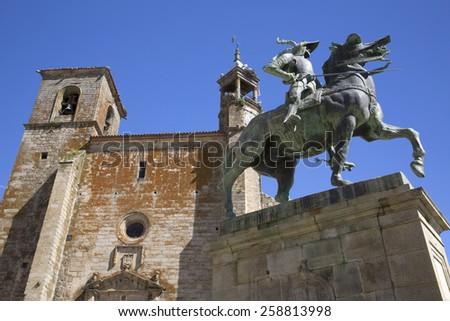Francisco Pizarro statue, Trujillo, Caceres, Extremadura, Spain - stock photo