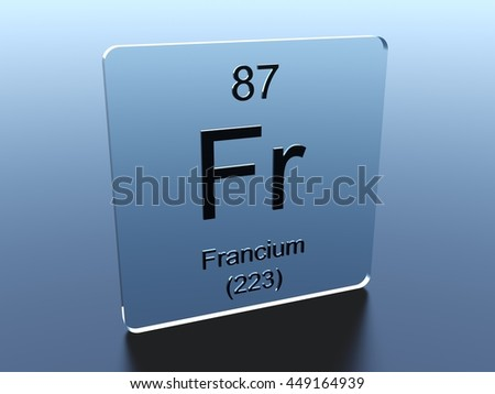 Francium Symbol On Glass Square 3 D Stock Illustration 449164939