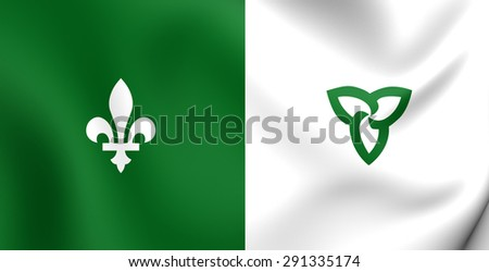 Franco-Ontarian 3D Flag. Ontario, Canada. Close Up. - stock photo