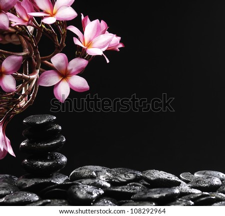 Frangipani flower and stacked stones on wet pebble - stock photo