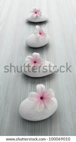 frangipani flower on white stone, zen spa on white wood - stock photo