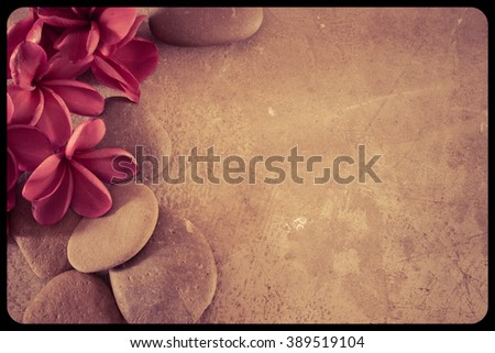 Frangipani flowers red  and stones . filter coulortone, for background. - stock photo