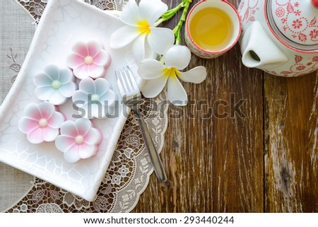 frangipani jelly and Chinese tea - stock photo