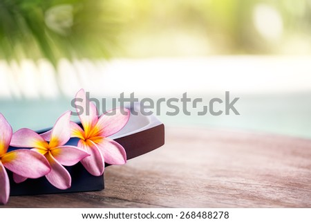 Frangipani tropical spa flower, spa and wellness background - stock photo