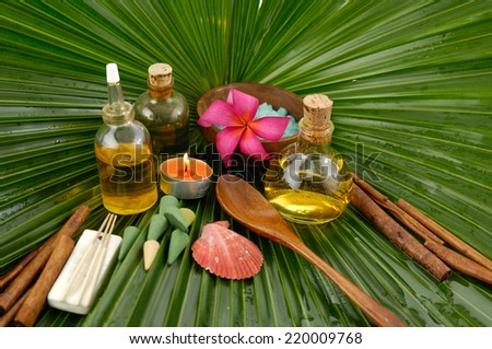 frangipani with oil ,salt in bowl ,oil ,candle ,spoon on palm leaf texture  - stock photo
