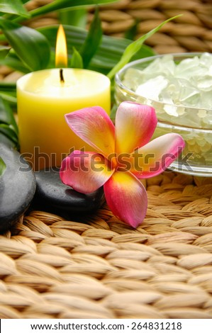 frangipani with Salt in bowl and stones ,candle ,green plant on Wicker placemat - stock photo