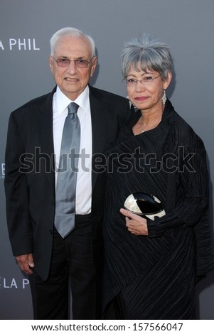 Frank Gehry and wife Berta Gehry at the Walt Disney Concert Hall 10th Anniversary Celebration, Walt Disney Concert Hall, Los Angeles, CA 09-30-13