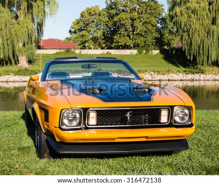 FRANKENMUTH, MI/USA - SEPTEMBER 13, 2015: A 1972 Ford Mustang car with Ram Air (NACA Ducts) at the Frankenmuth Auto Fest, held in Heritage Park.
