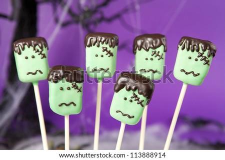 Frankenstein cake pops - stock photo