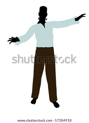 Frankenstein  halloween silhouette illustration on a white background