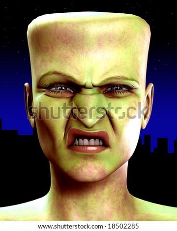 Frankenstein Monster Head - stock photo