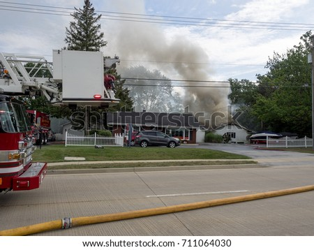 FRANKFORT IL.  HOUSE FIRE ON US RT 30.  SEPTEMBER 7, 2017.  Property is ablaze within roof - adjacent to State Farm Insurance office at 8651 W Lincoln Hwy, Frankfort, IL 60423 #5