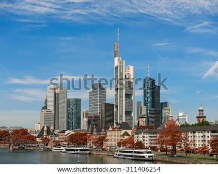 Frankfurt am Main city with retro vintage Instagram style effect - stock photo