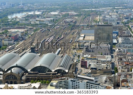 FRANKFURT AM MAIN, GERMANY - AUGUST 6, 2015: Aerial view of Frankfurt Central station from the observation deck of Main tower. It is the busiest railway station in Germany.