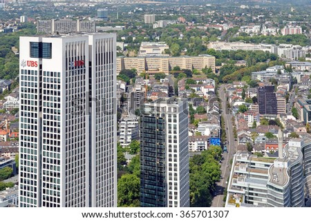 FRANKFURT AM MAIN, GERMANY - AUGUST 6, 2015: Aerial view of Opernturm and Park Tower skyscrapers from the Main Tower. Frankfurt is the largest financial centre in continental Europe.