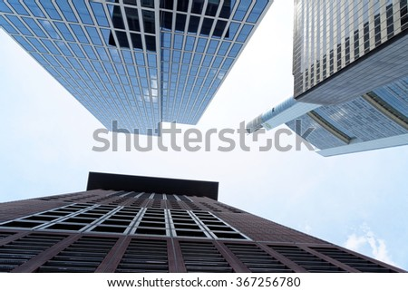 FRANKFURT AM MAIN, GERMANY - AUGUST 6, 2015: Japan Center, Commerzbank, Taunus Tower. It is a dynamic and international financial and trade city with the most imposing skyline in Germany. - stock photo