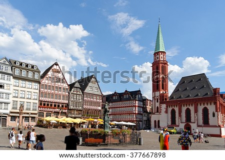 FRANKFURT AM MAIN, GERMANY - AUGUST 7, 2015: Romerberg square (Roman Mountain),  the historic heart of the  city and  the centre of the old town. - stock photo