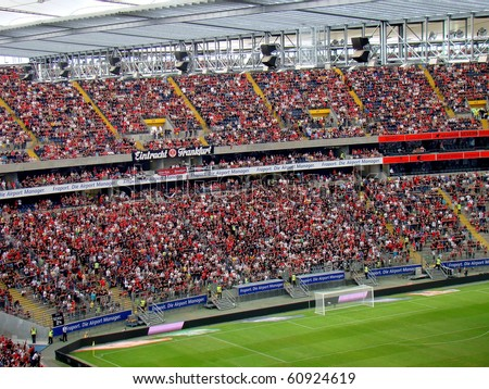 FRANKFURT AM MAIN, GERMANY - AUGUST 1: The Eintracht Frankfurt supporters at the Commerzbank Arena for the friendly game against Chelsea FC on August 1, 2010. Final score: 2-1 for the home team.