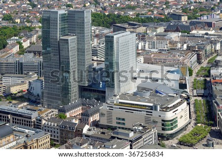 FRANKFURT AM MAIN, GERMANY - AUGUST 6, 2015: The Palais Quartier, a complex of four buildings - MyZeil, Palais Thurn und Taxis, a former palace, Nextower, offices and Jumeirah Frankfurt, a hotel.