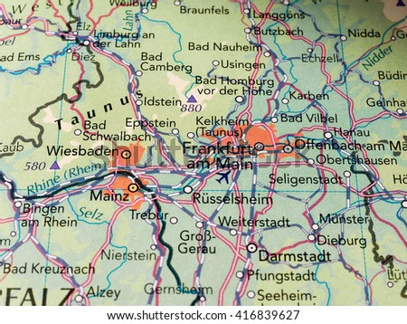 FRANKFURT AM MAIN, GERMANY - CIRCA MAY 2016: Detail of a map of the city with selective focus on city name Frankfurt